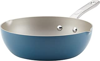 Ayesha Curry Home Collection Nonstick Fry Saute Pan/Chefpan, 9.75 Inch, Twilight Teal Blue