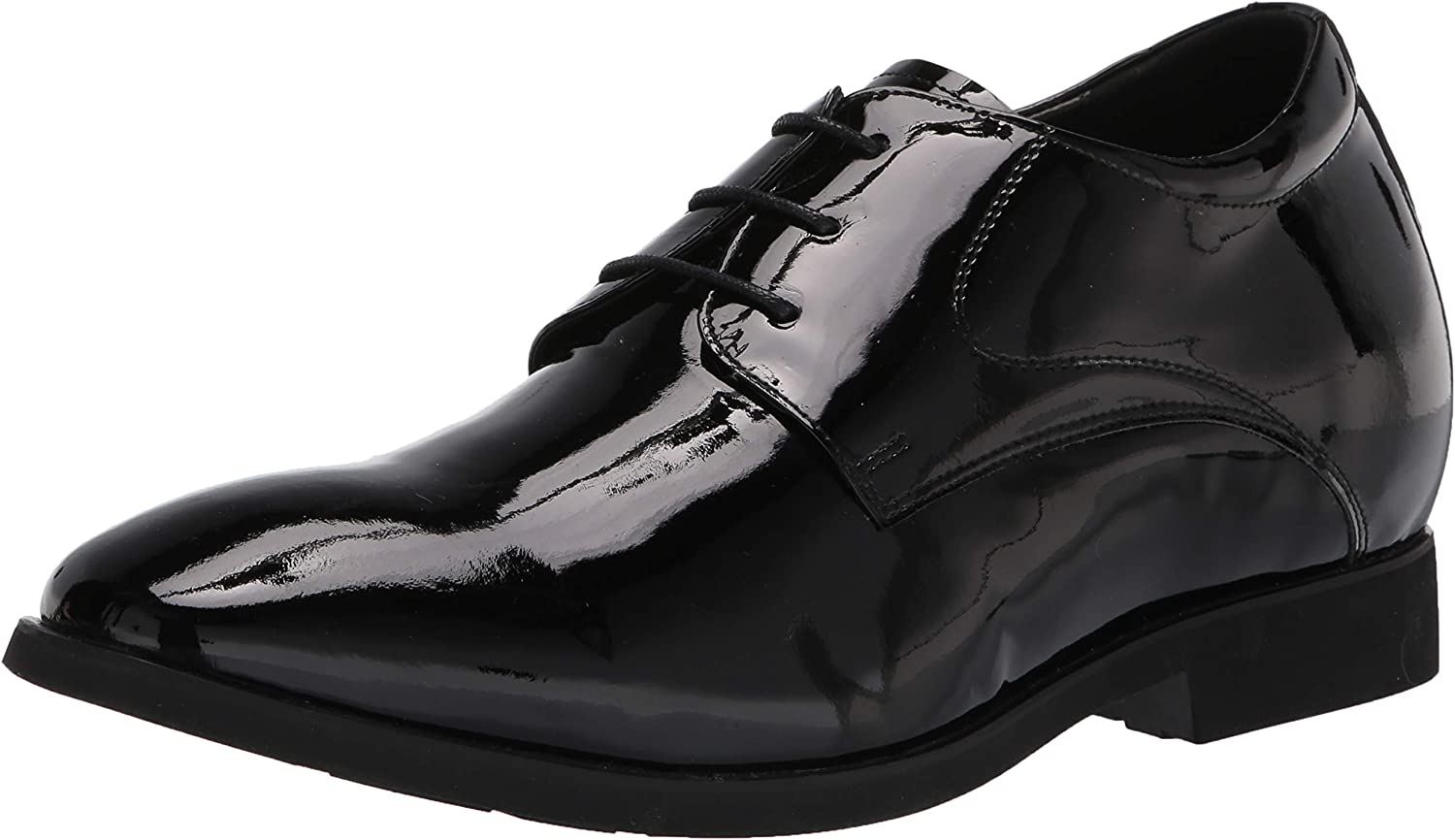 Calden Men's Invisible Height Increasing Elevator Shoes - Black Patent Leather Lace-up Formal Tuxedo Oxfords - 3 Inches Taller - K911929