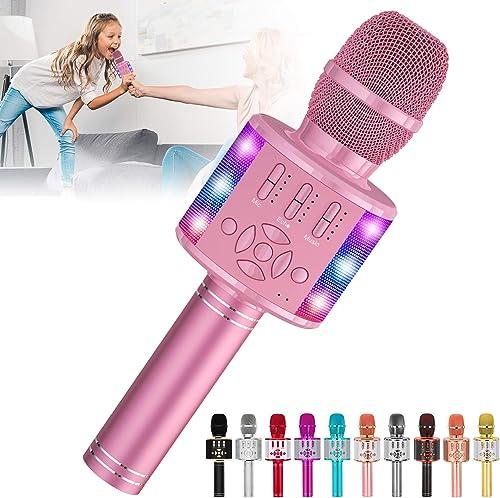 Amazmic Kids Karaoke Microphone Machine Toy Bluetooth Microphone Portable Wireless Karaoke Machine Handheld with LED ...