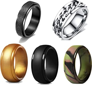 XTBCN 5pcs Women's Men's 6MM 8MM Fashion Stainless Steel Spinner Ring,Fidgety Ring,Silicone Ring,restlessness Ring