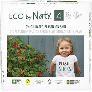 Eco by Naty, Size 4, 156 Diapers, 15-40 lbs, ONE MONTH supply, Plant based premium ecological diaper with 0% oil plastic on skin.