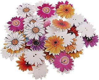 Baoblaze 50 peças Margarida Flor Madeira Decorativa Botões Scrapbooking Enfeite 25 mm