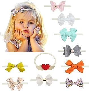 10 قطع من عصابات الرأس للأطفال الرضع المصنوعة من النايلون أربطة الشعر إكسسوارات للشعر للبنات حديثي الولادة والأطفال الرضع