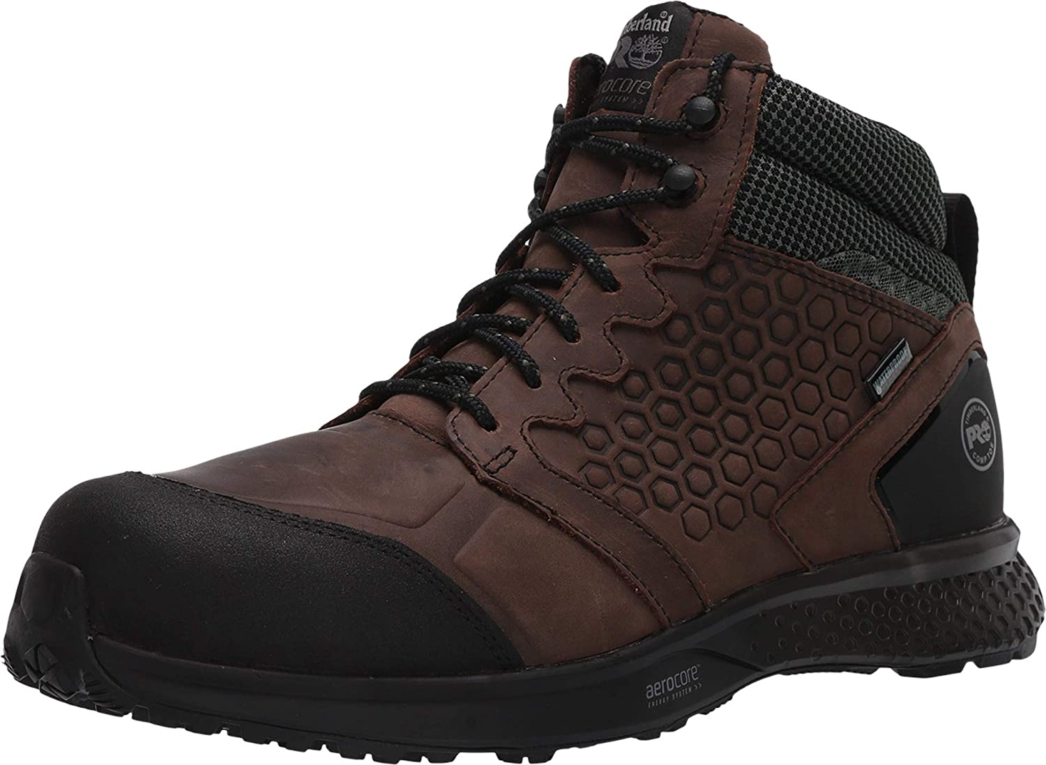 Timberland PRO Men's Mid Reaxion Athletic Hiker Wateproof Composite Toe Work Boot, Brown/Green, 8 Wide