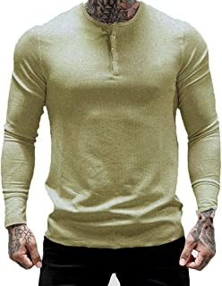 SANFASHION 2020 Newest Men Long Sleeve T-Shirt Sweatshirt Shirts Top Solid Color Button Rond Collar Casual Sport Lightweig...