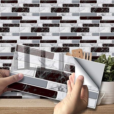 Autocollant effet carrelage mural pour décoration intérieure, dosseret auto-adhésif, carreaux autocollants pour salon, cuisine, salle de bain