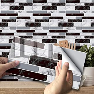 Autocollant effet carrelage mural pour décoration intérieure, dosseret auto-adhésif, carreaux autocollants pour salon, cui...