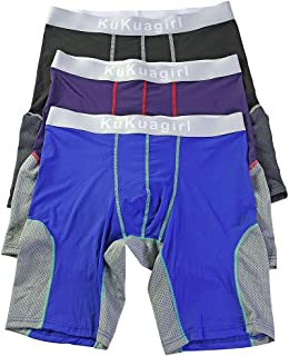 Calzoncillos Boxer Hombre Clásico Sport Pantalones Cortos Pierna Larga Respirable Elástico Shorts Briefs Trunks Pack de 3