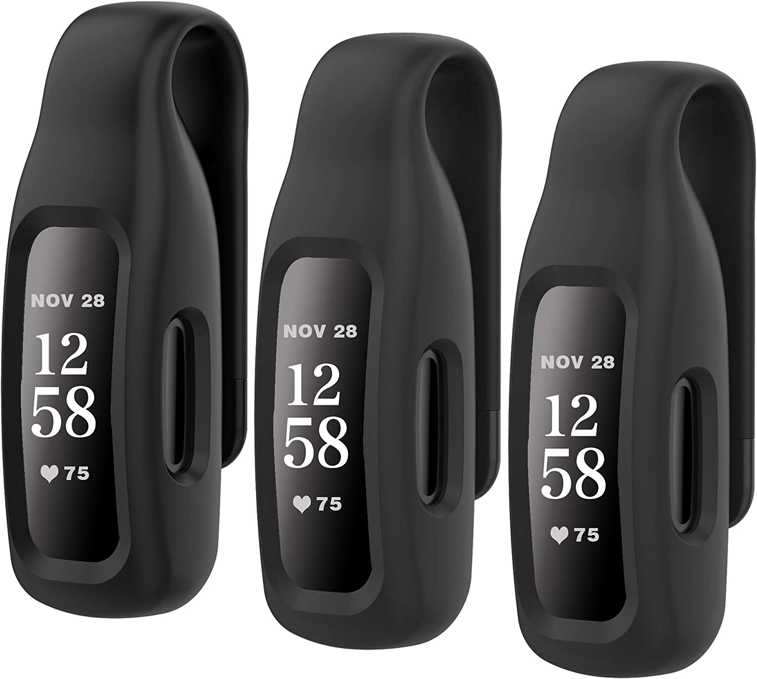 HSWAI 3-Pack Clips Replacement for Fitbit Inspire 2, Soft Comfortable Silicone Clip 360°Protection Holder Accessory Compatible with Fibit Inspire 2