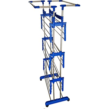 SUNDEX Heavy Duty Double Poll Stainless Steel Life Time Use - Use Rust Proof Foldable - (Made in India) Cloth Dryer Stand