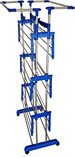 VIMART® Extra Strong Heavy Duty Indian Made Stainless Steel Floor Cloth Dryer Stand (Blue) VIMART Product