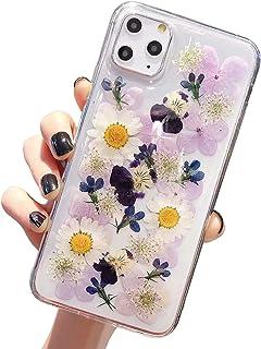 Funda para iPhone 11 Pro Max iPhone XS Max con flores auténticas, funda transparente de goma cristal, hecha a mano, colorida y seca, para Apple iPhone Xr/X