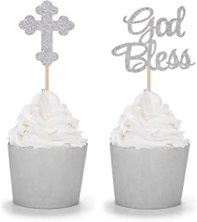 24 Counts Sparkly God Bless and Baptism Cupcake Toppers Christian Party Decorations - Silver