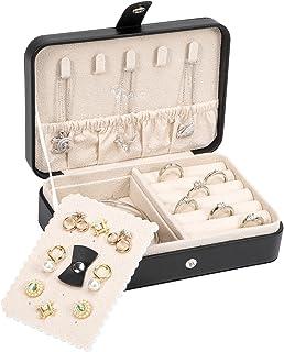 جعبه سازماندهی طلا و جواهر Voova ، کیف جواهرات کوچک مسافرتی برای دختران نوجوان ، مینی جعبه های ذخیره سازی جواهرات قابل حمل چرمی دارنده صفحه نمایش با گوشواره هوشمند برای حلقه های گردنبند دستبند ، مشکی