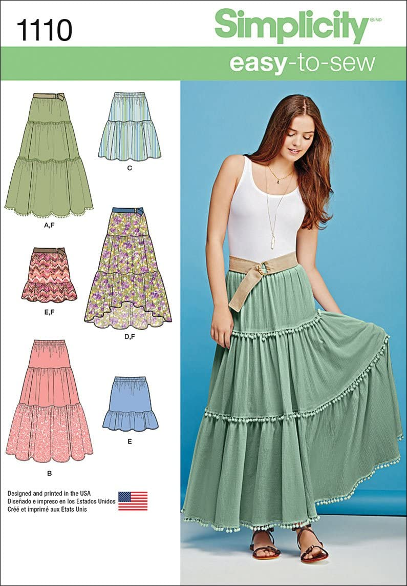 Simplicity 1110 Learn to Sew Spring new work one after another Tiered Free Shipping New Sewing Wom Pattern Skirt for