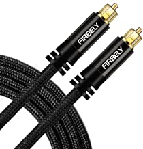 FIRBELY Digital Toslink Cable Optical Audio Cable-S/PDIF Fiber Optic with Metal Connectors Braided Jacket Black Cable for Sound Bar/TV Speakers 6 feet