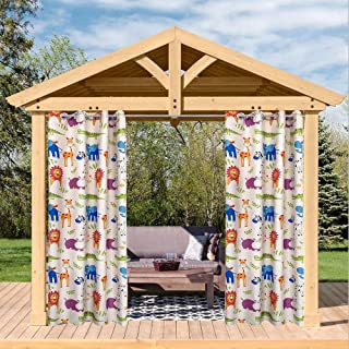 Pro Space Outdoor Curtains Cartoon Animal Print Curtain Gazebo Patio Curtain Drape 50x108 inch Blackout Single Panel Waterproof Top Thermal Insulated Grommet Curtain