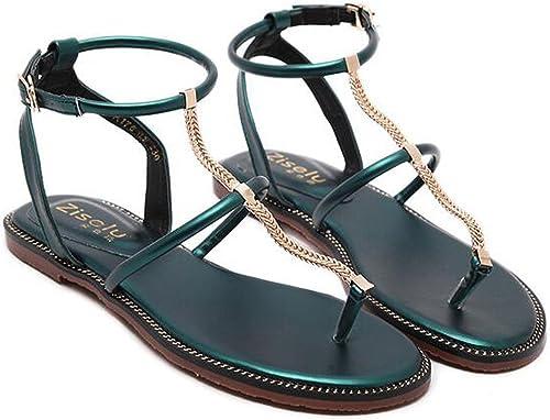 ZZZJR Femmes Sangle de cheville avec T-Bar Sandals Chaussures plates Décontracté Summer chaussures Ronde Peep Toe Perle Sandales élastiques Summer Beach Post Sandales Tongs Chaussures plates
