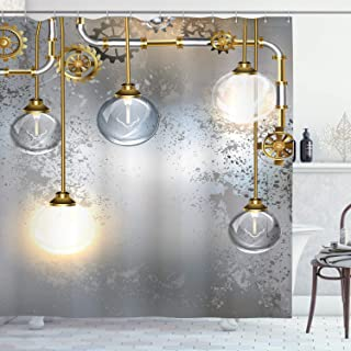 Ambesonne Industrial Shower Curtain, Steampunk Style Antique Composition Brass Fastening Round Print, Cloth Fabric Bathroom Decor Set with Hooks, 70