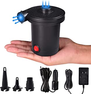 chamvis Mini Electric Air Pump,Portable AC DC Electric Pump with 3 Nozzles for Inflatables for Air Mattress Exercise Ball Inflatables Bed Boat Pool Toy Raft Pump(Black)