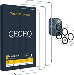 "QHOHQ 3 Pack Screen Protector for iPhone 12 Pro Max [6.7""] with 2 Packs Tempered Glass Camera Lens Protector, Tempered Gla..."