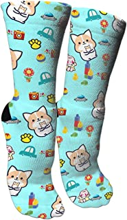 Cute Baby Shiba Inu Crazy Funny Colorful Novelty Graphic Basketball Crew Tube Socks