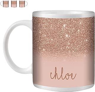 STUFF4 Tea/Coffee Mug/Cup 350ml/Rose Gold/Personalized Printed Glitter Effect/White Ceramic/ST10