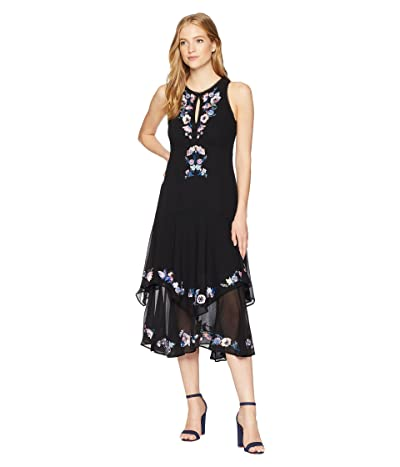 Nanette Lepore Journey Embroidered and Embellished Midi Dress (Black Multi) Women