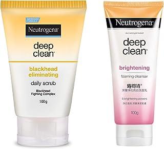Neutrogena Deep Clean Blackhead Eliminating Daily Scrub, 100g And Neutrogena Deep Clean Brightening Foaming Cleanser, Whit...