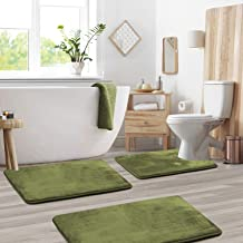 Clara Clark 3-Pack Bath Mat Set - Large, Small and Contour Bathroom Rug Set, Absorbent Memory Foam Bath Rugs, Non-Slip, Th...