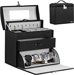 Homde Jewelry Display Box for Men Women Necklace Sunglasses Fully Locking with Watch Hanger Bracelet Holder Mirror (Black (Apricot Inside))