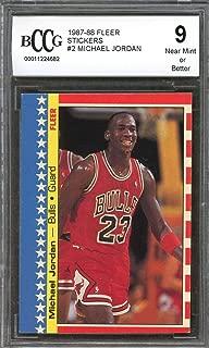 1987-88 fleer stickers #2 MICHAEL JORDAN bulls (2nd YEAR CARD) BGS BCCG 9 Graded Card
