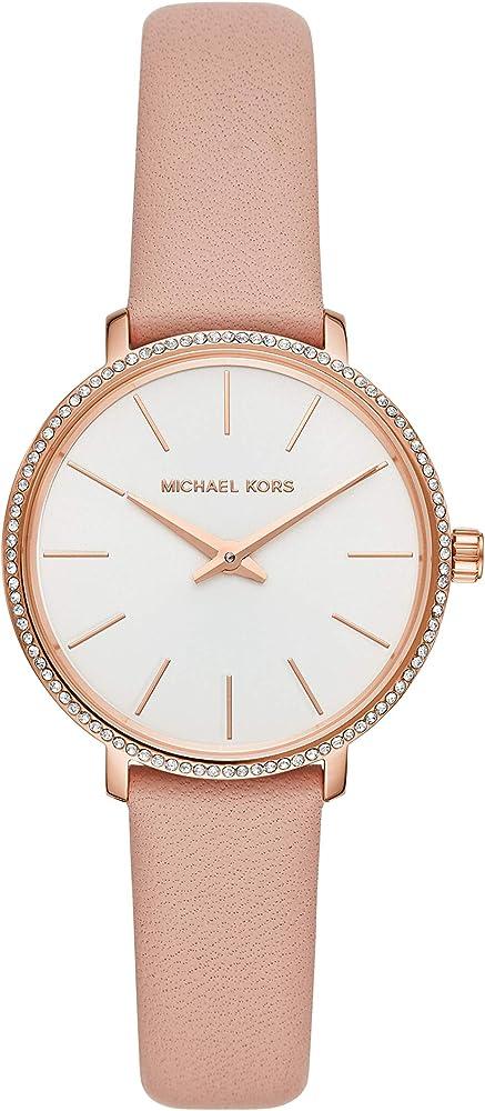 Michael kors, orologio per donna,cassa in acciaio tonalità oro rosa,cinturino in pelle MK2803