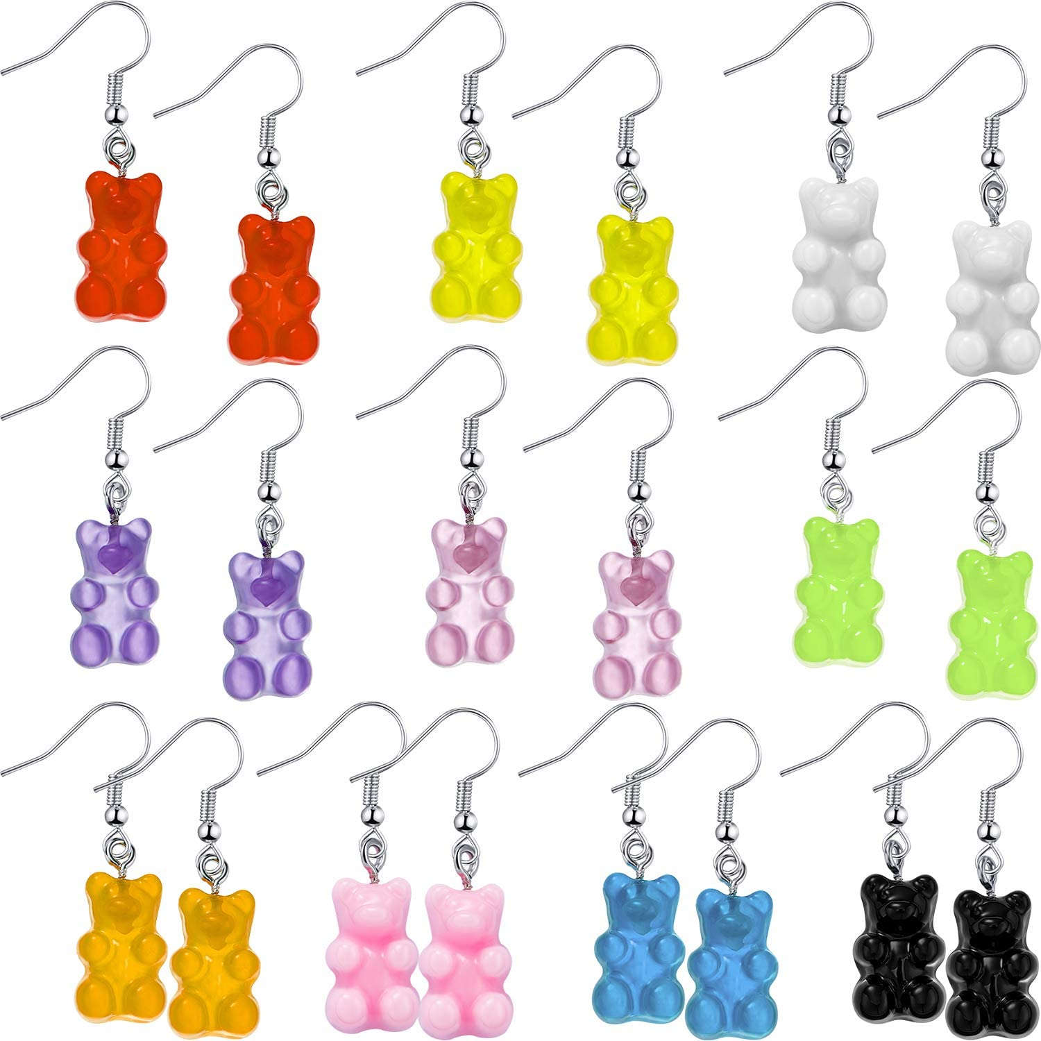 10 Pairs Gummy Candy Bear Colorful Classic Drop New York Mall Resin Earrings Cart