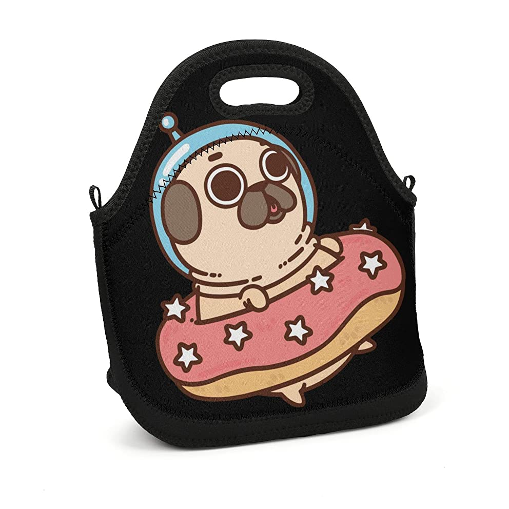 Dog Donut Pug Space Astronaut vintagelunch Handbag Extremely Durable Portable Meal Package Trendy Lunch Bag for Girls Boys Men Women Kids