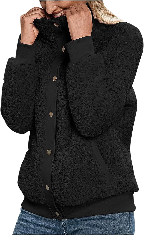RFNIU Black Faux Fur Jacket For Women Winter Fashion Casual Teddy Buttons Down Heating Cardigan Long Sleeve Top