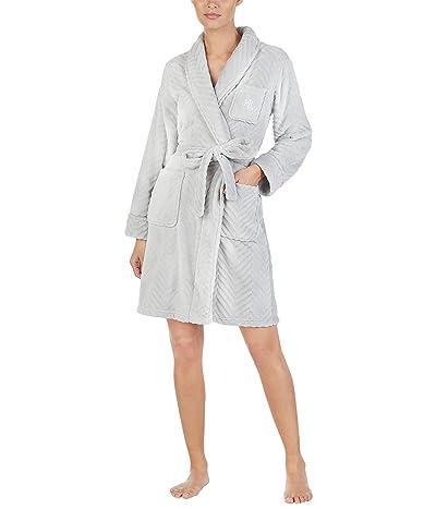 LAUREN Ralph Lauren Short Shawl Collar So Soft Robe (Grey) Women