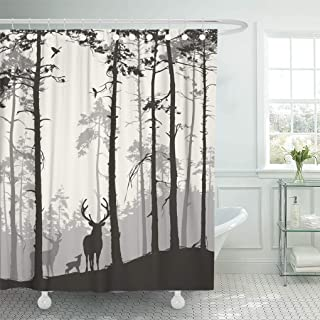 Semtomn Decorative Shower Curtain Silhouette of Pine Forest Family Deer and Birds Brown 72