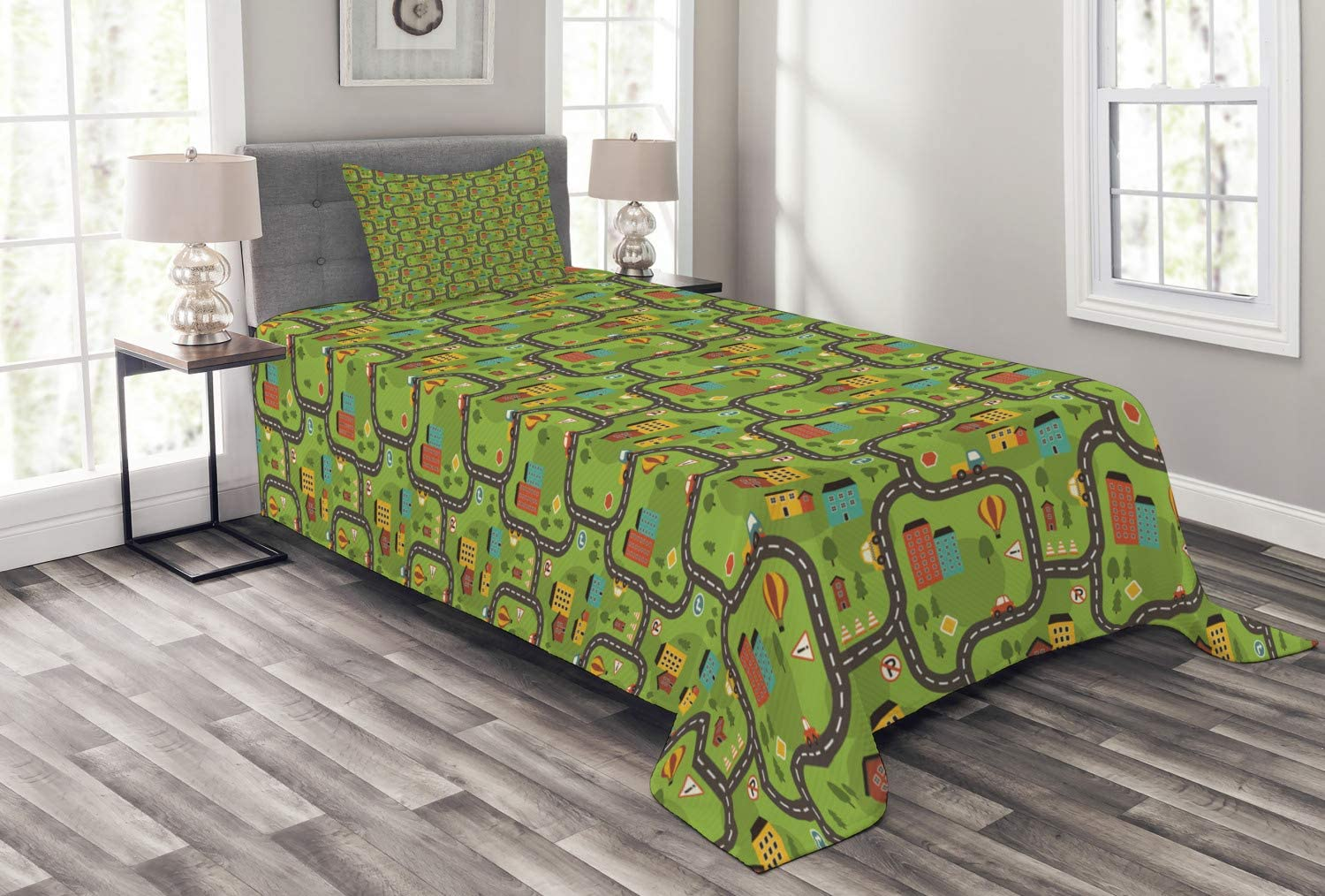 Ambesonne Car Race Track Fixed price for sale Bedspread Excellent Style w Cartoon Illustration