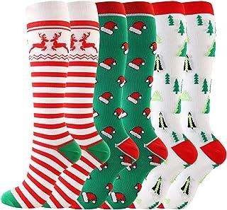LIOOBO, 3 pares de calcetines largos de compresión navideños de renos de nylon patrón de árbol de navidad calcetines hasta la rodilla medias absorbentes de sudor para correr maratón atlético