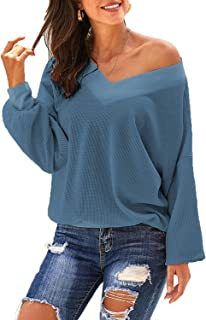 Urchics Womens V Neck Waffle Knit Tops Off Shoulder Long Sleeve Pullover Sweater