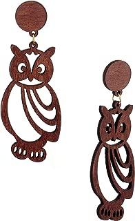 Women's Wooden Owl Cut Out Pierced Dangle Earrings