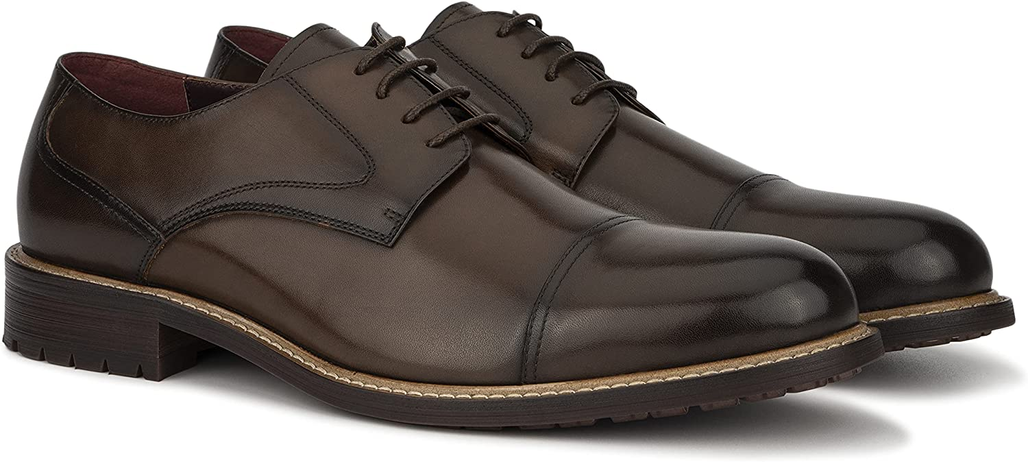 Vintage Foundry Co. Henry Men's Fashion Handcrafted Classic Formal Oxford Leather Derby Lace Up, Cap Toe, Rubber Outsole