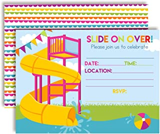 Slide Into Summer Waterslide Birthday Party Invitations for Girls, 20 5