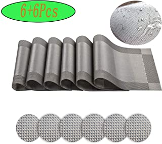 Ayuboom Placemat,Table Mats, 18L X 12W (Inch) Set of 6 Insulated Washable Non-Slip Table Mats for Dining Tables and Kitchens(Silver-Gray)