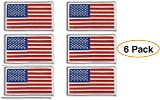 9 United States LEFT Flag Iron-On Patch USA Military Tactical Emblem Red Border