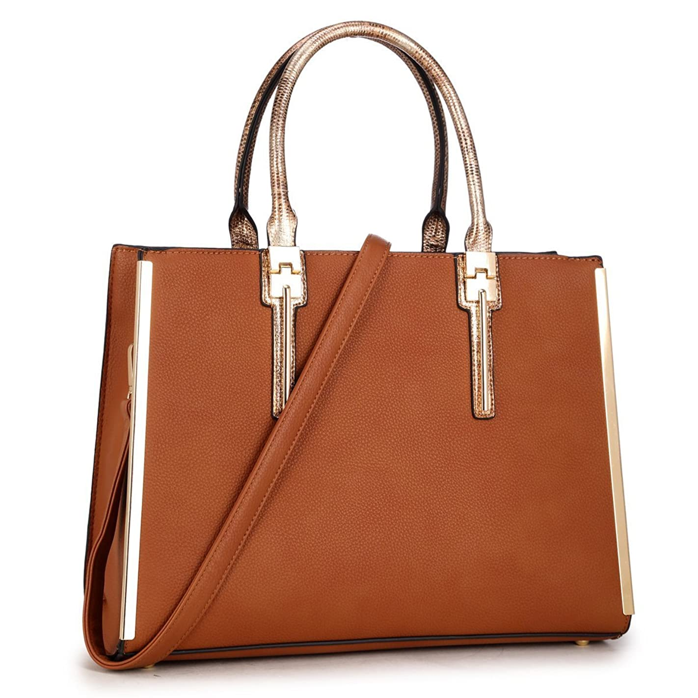 Laptop Tote Bag, PU Leather 14.7 Inch Lady Designer Satchel Lawyers Briefcase Casual Business Slim Bag For 13 Inch Tablet/Ultra-book/Macbook (KK-12-6244-BR) a59127325105
