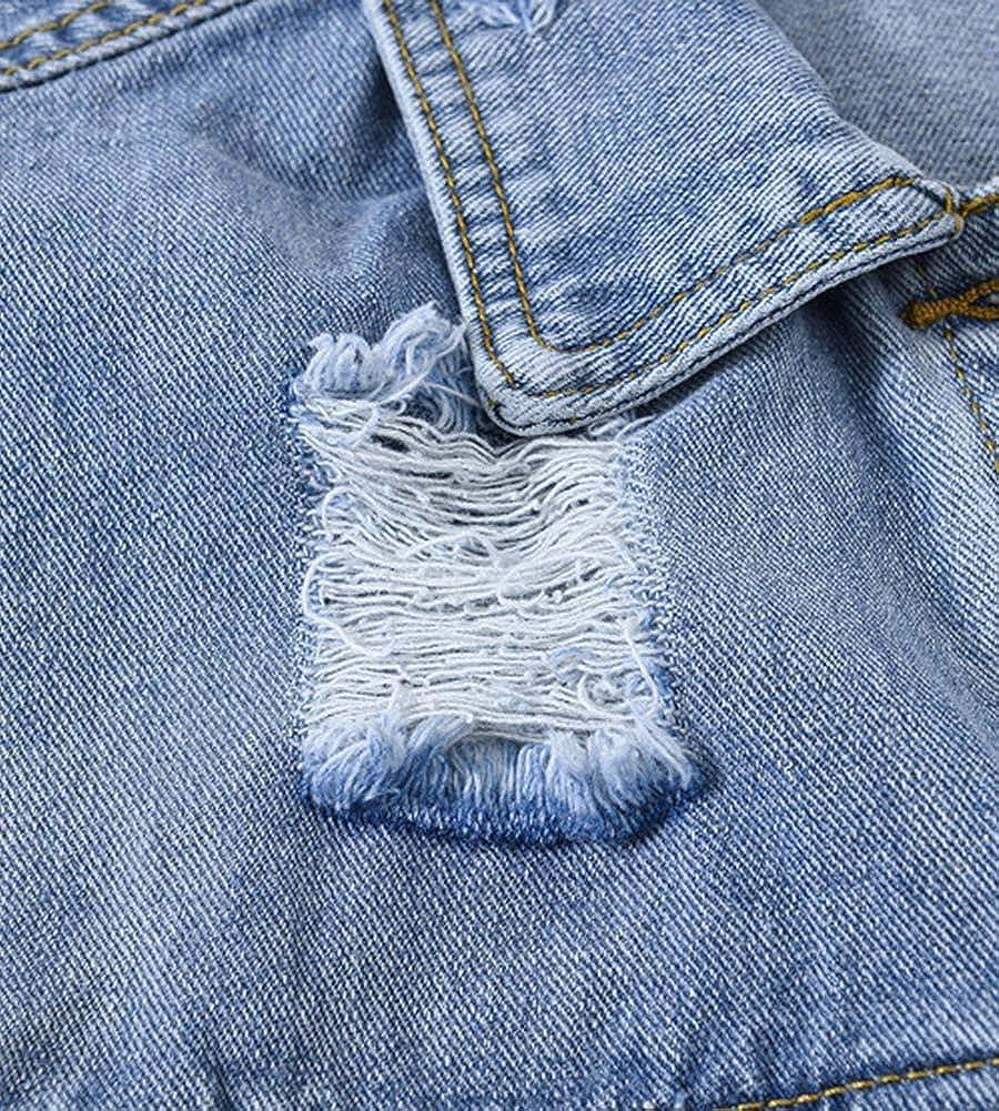 Ladyful Women's Classic Ripped Denim Vest Sleeveless Jean Trucker Jacket Outerwear