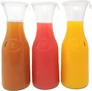 Tinker, Spoon & Ash 1L Glass Carafe Set; Wine, Water, Mimosa Pitchers With Silicone Lids (3)