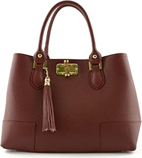 Borsa Per Donna A Mano Con Accessorio In Pelle Colore Rosso Borgogna - Pelletteria Toscana Made In Italy - Borsa Donna